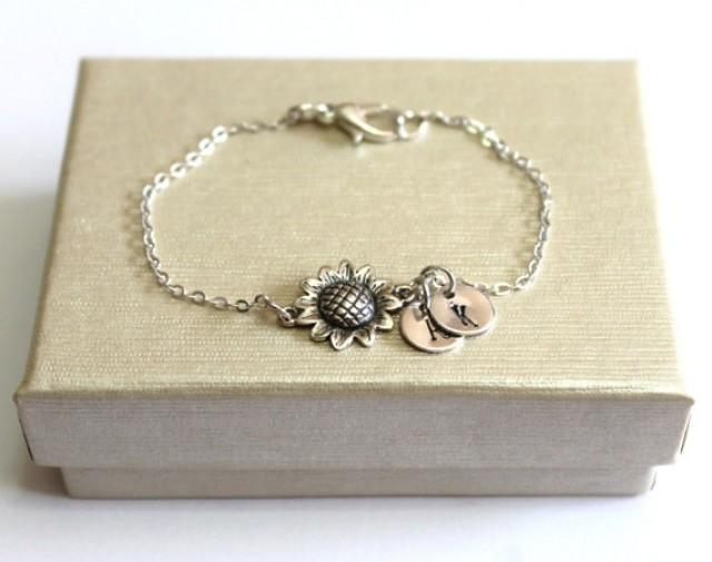 wedding photo - Sterling Silver Sunflower Bracelet, Personalized Silver Discs, Couple's Initials, Monogram Charms , Mother Jewelry, Silver Personalized