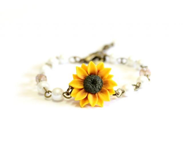 wedding photo - Sunflower Bracelet, Yellow Sunflower and Pearls Bracelet, Yellow Bridesmaid Jewelry, Sunflower Jewelry, Summer Jewelry
