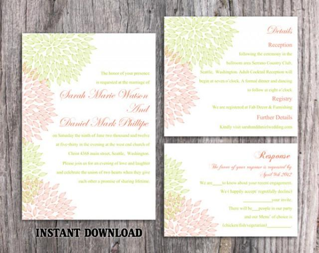 wedding photo - Wedding Invitation Template Download Printable Wedding Invitation Editable Red Invitations Floral Invitation Green Invitation Invite DIY - $15.90 USD