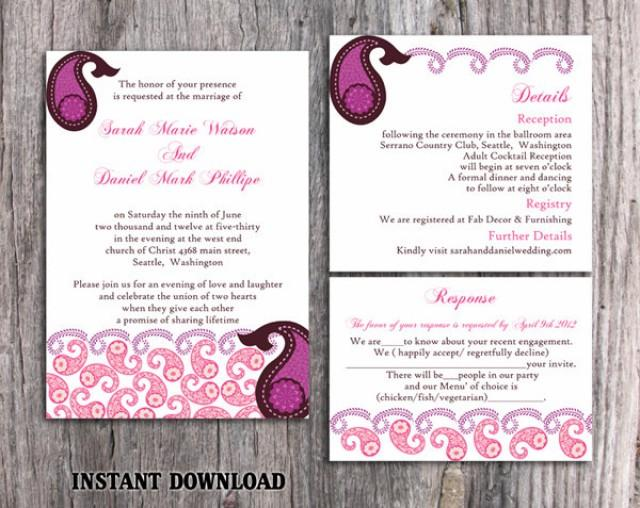 wedding photo - Bollywood Wedding Invitation Template Download Printable Invitations Editable Purple Pink Invitations Indian invitation Paisley Invites DIY - $15.90 USD