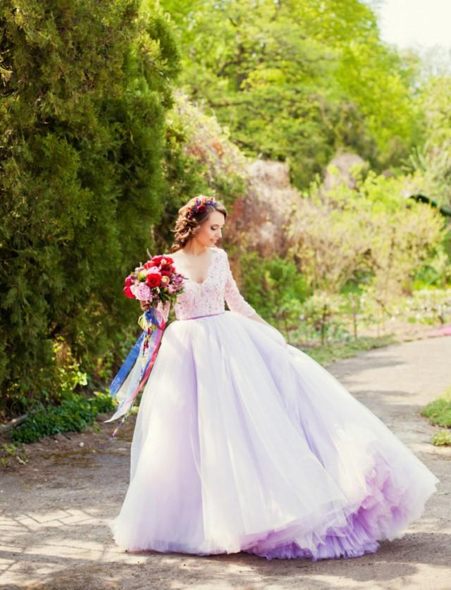 Apple Orchard Wedding With A Lavender Wedding Dress - Weddingomania ...