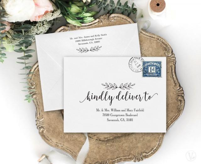 Wedding Envelopes, Wedding Envelope Addressing Template, Printable Wedding Envelope Template, A7 Envelope, Modern Calligraphy, WE004, VW10