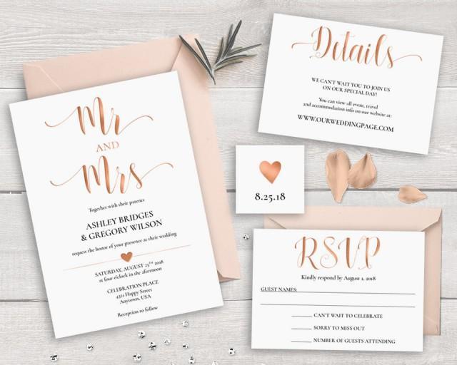SALE 40% OFF Rose Gold Wedding Invitation Suite Template, Printable Wedding Invitation Set Mr and Mrs Wedding Invitations Caligraphy Invites
