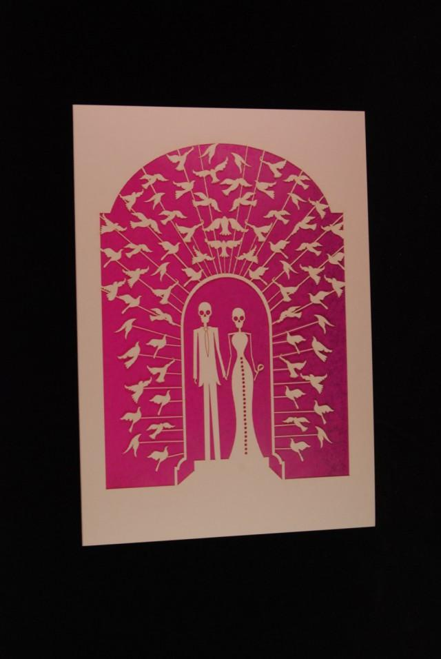 Bride and Groom Calavera surrounded with doves, a great card for weddings or any anniversary, laser cut