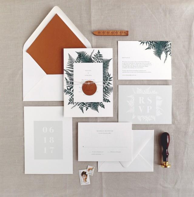 Celine Wedding Invitation & Correspondence Set / Illustrated Botanical Ferns and Foliage / Sample Invitation Set