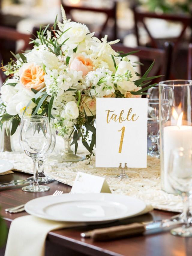 Octavia Gold Foil Table Numbers - Gold Table Number Cards - One Sided - Wedding Table Numbers with Gold Foil #TN122G