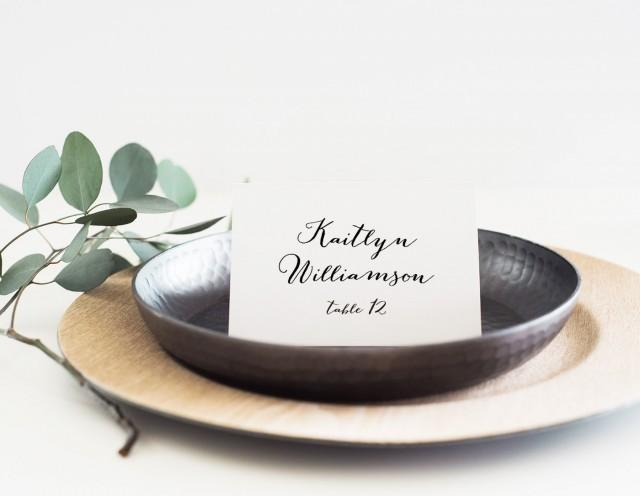 Printable place card template, Wedding place card, Name tags, Calligraphy place cards, Editable escort card