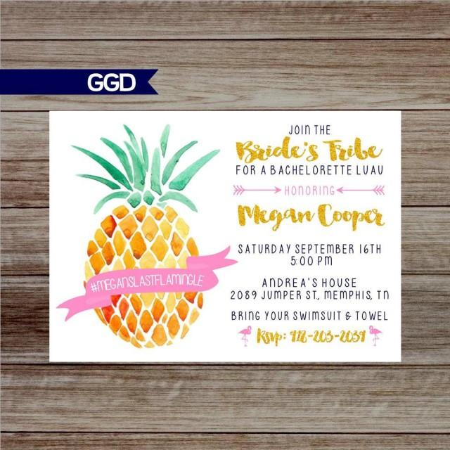 Pineapple Last Flamingle Bachelorette Party Invitation, Hawaiian bachelorette party with schedule, hens party, bachelorette pool party
