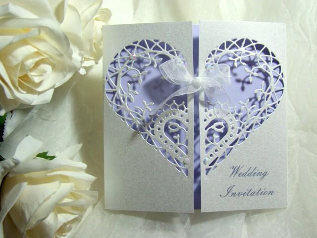 Wedding Invitation Gatefold Filigree Heart