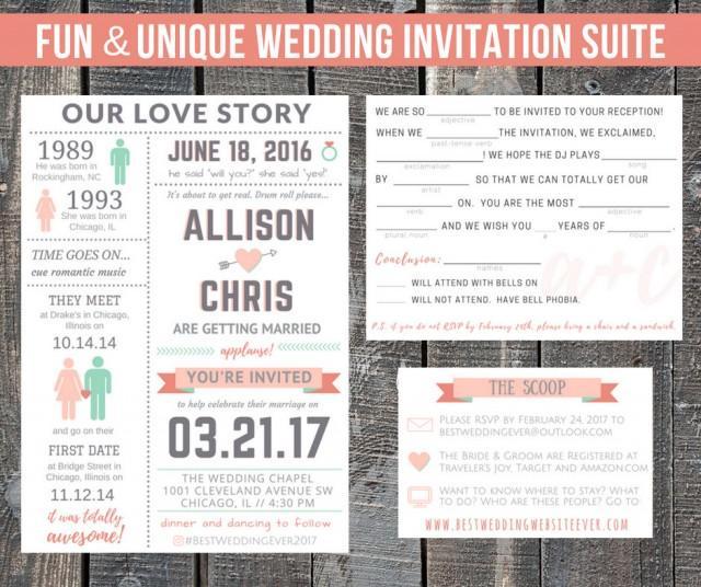 Printable Wedding Invitation Suite / Our Love Story / Custom / Destination / Reception Invites / Funny / RSVP Mad Lib / Details Info Card