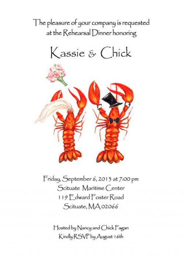 25 wedding lobster invitations,  rehearsal dinner,  crawfish invitations, nautical wedding, save the date lobster,  lobster boil invite
