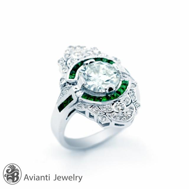 Emerald Ring, Engagement Ring With Emerald Wedding Ring, White Gold Engagement Ring, European Cut Diamond