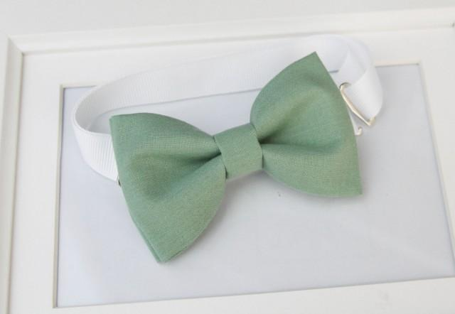 Sage green bow-tie for baby toddler teens adult - Adjustable neck-strap