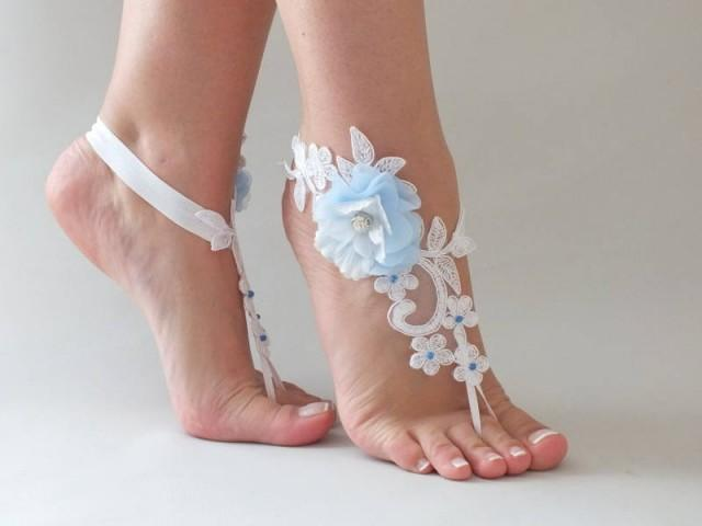 wedding photo - White Lace Barefoot Sandals Blue flowers Wedding Shoes Wedding Photography beach wedding barefoot sandals Beach Sandals footless sandles - $28.90 USD