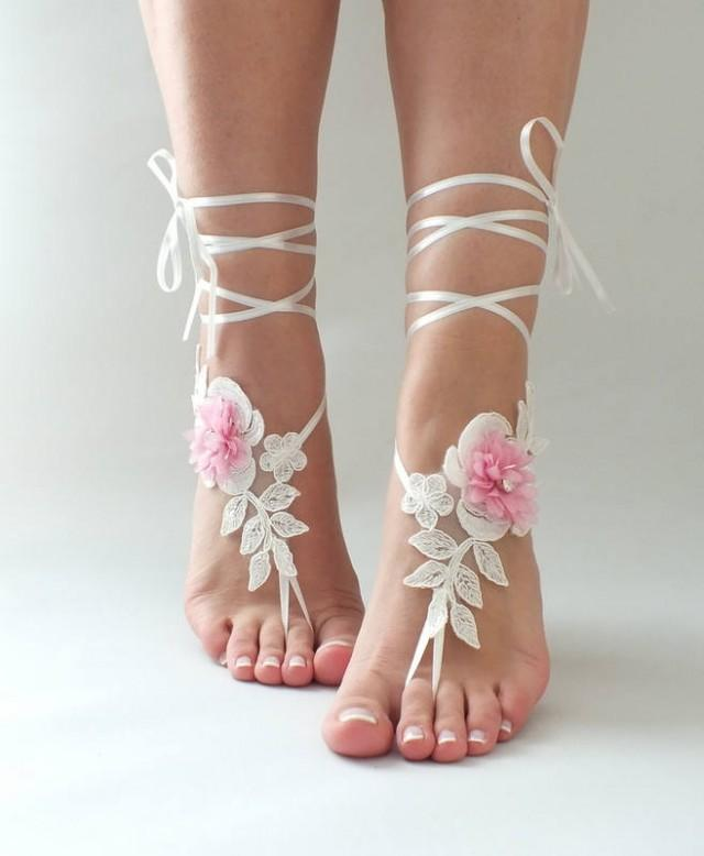 wedding photo - Ivory Pink Lace Barefoot Sandals Wedding Shoes Wedding Photography beach wedding barefoot sandals Beach Shoes Beach Sandals footless sandles - $27.90 USD