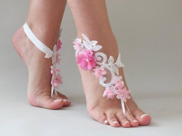 wedding photo - White Lace Barefoot Sandals Pink flowers Wedding Shoes Wedding Photography beach wedding barefoot sandals Beach Sandals footless sandles - $27.90 USD