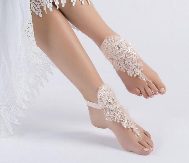 wedding photo - Blush Lace Barefoot Sandals, Bridal Pool party, Bridal Lace Shoes, Beach wedding Barefoot Sandals, Wedding Shoes, Bridesmaid Sandals - $31.90 USD