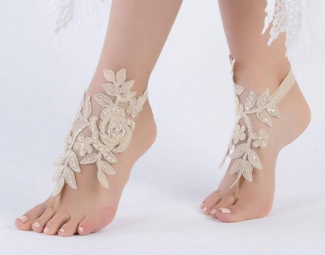 wedding photo - Champagne Beach wedding barefoot sandals, Lace wedding anklet, FREE SHIP, anklet, bridal, wedding gift bridesmaid sandals Bridal anklet - $28.90 USD