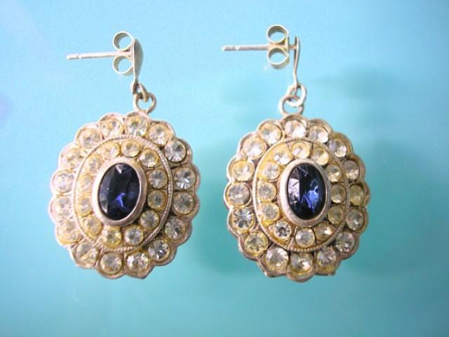 wedding photo - Blue Rhinestone Earrings, Sapphire, Pierced Earrings, Wedding Jewelry, Rhinestone Bridal Earrings, Sparkly Earrings, Diamante Earrings, Deco