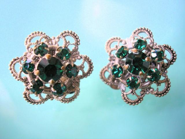 wedding photo - Czech Filigree Earrings, Art Deco, 1930s Jewelry, Vintage Earrings, Emerald Rhinestone, Emerald Earrings, Clip On, Silver Plated, Bridal