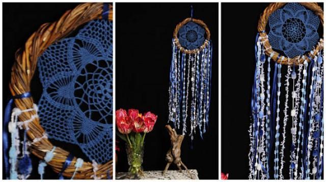 wedding photo - Dreamcatcher BLue Dream Catcher vine Dreamcatcher navy Dream сatcher gift idea dreamcatchers boho dreamcatcher wall handmade idea gift eco