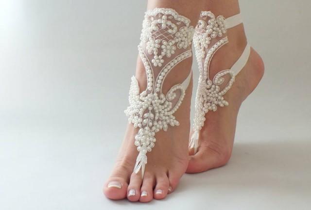 wedding photo - Pearl Beach wedding Barefoot Sandals İvory Lace Wedding Barefoot Sandals, Bridal Lace Shoes, FREE SHIPPING Beach Wedding Shoes - $39.90 USD