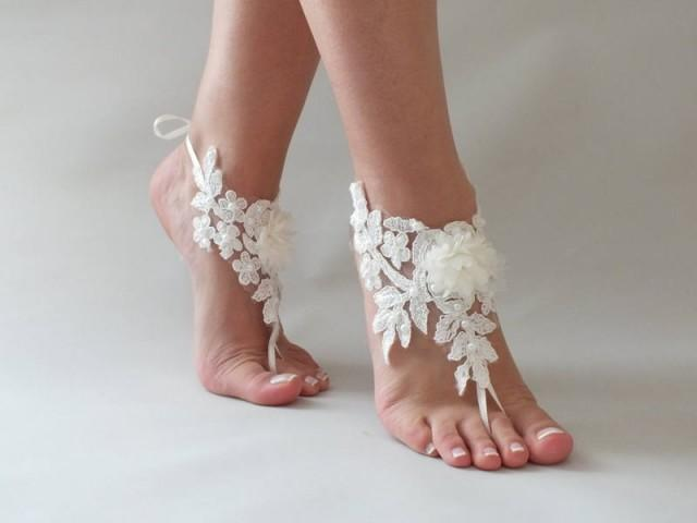 wedding photo - Beach wedding Barefoot Sandals İvory Wedding Barefoot Sandals, Lace Barefoot Sandals, Bridal Lace Shoes, Floral Shoes, Anklet, Bridesmaid - $26.90 USD