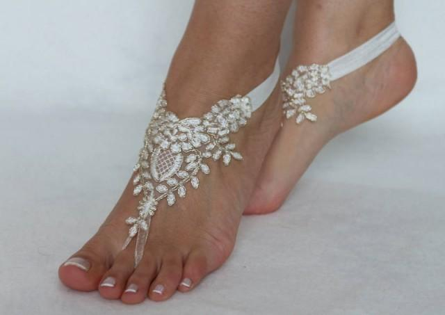 wedding photo - ivory gold frame Beach wedding barefoot sandals, Ivory Barefoot Sandals, Sexy, Yoga, Anklet , Bellydance, Steampunk, Beach Pool - $29.90 USD