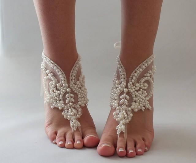 wedding photo - Pearl Bridal Barefoot Sandals, Wedding Barefoot Sandals, Beach Wedding Barefoot Sandal, Footless Sandal Bridal Foot Jewelry, - $45.90 USD