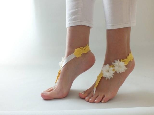 wedding photo - ivory Yellow sandals Beach wedding Barefoot SandalsWedding Barefoot Sandals, Lace Barefoot Sandals, Bridal Lace Shoes, - $25.90 USD