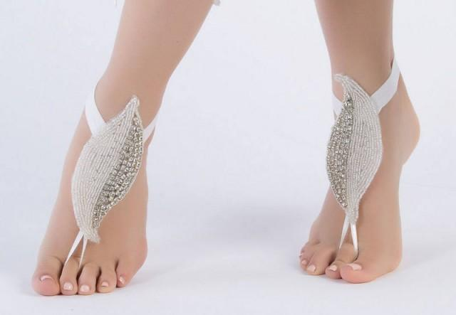 wedding photo - Leaf Rhinestone Barefoot Sandals, FREE SHIPPING Beach Wedding Barefoot Sandals, Beach Shoes Beach Sandals, Bridal Anklet, Flexible Ankle - $42.90 USD