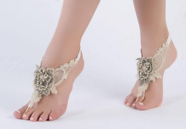 wedding photo - FREE SHIP Gold lace barefoot sandals wedding barefoot, Bridal Lace Shoes Beach wedding barefoot sandals, Elegant Lace sandals, - $29.90 USD