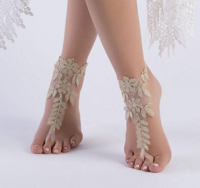 wedding photo - Gold Lace Beach wedding barefoot sandals, Lace wedding anklet, FREE SHIP, Footless, Bohemian bride wedding gift bridesmaid sandals - $26.90 USD