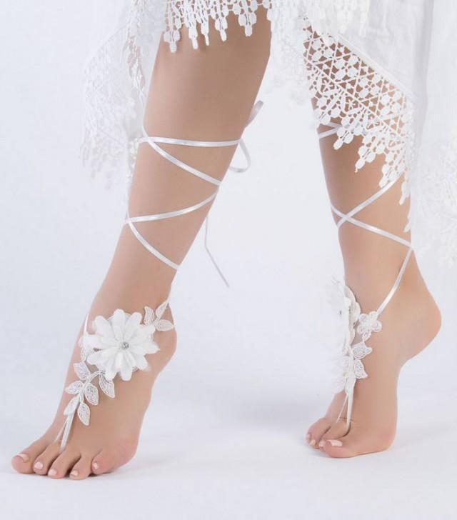 wedding photo - Romantic Lace Barefoot Sandals Ivory Flowers Wedding Shoes Wedding beach wedding barefoot sandals Beach Shoes Beach Sandals footless sandles - $27.90 USD