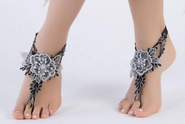 wedding photo - Bohemian Foot Jewellry Black Silver 3D flowers Beach wedding Barefoot Sandals Lace Sandles, Bridal Lace Shoes, Foot Jewelry Belly Dance, - $27.90 USD