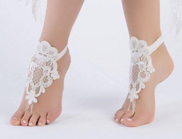 wedding photo - Beach wedding Ivory Barefoot Sandals, Nude shoes, Foot jewelry, Wedding Victorian Lace, Sexy Yoga, Anklet Bellydance, Steampunk, Beach Pool - $26.90 USD