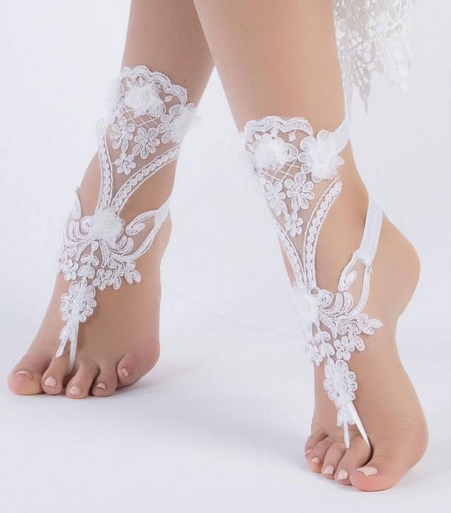 wedding photo - Unique Bridal Shoes White lace barefoot sandals wedding barefoot, Flexible wrist lace sandals Beach wedding barefoot sandals, - $35.90 USD