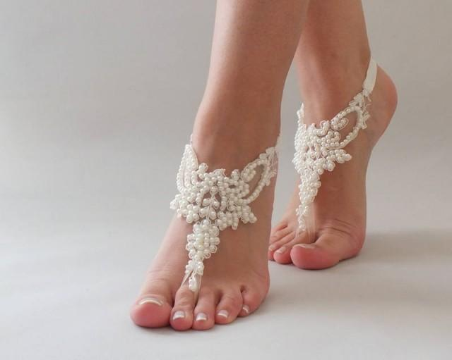 wedding photo - Bridal Anklet, Pearl Lace Barefoot Sandals, FREE SHIPPING Beach Wedding Barefoot Sandals, Lace Wedding Shoes Beach Sandals Pool Party - $35.90 USD