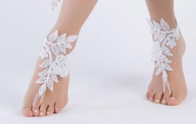 wedding photo - beach wedding barefoot sandals white lace barefoot sandals, FREE SHIP, , belly dance, lace shoes, bridesmaid gift, beach shoes - $28.90 USD