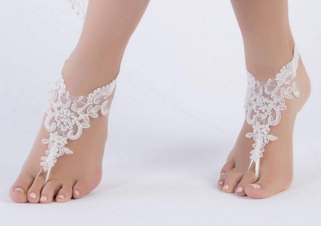 wedding photo - Ivory Lace wedding sandles Bridal Foot Jewelry, Beach Wedding Sandals , Women's bridal ankle sandals Women's bridal ankle sandles, lace shoe - $27.90 USD