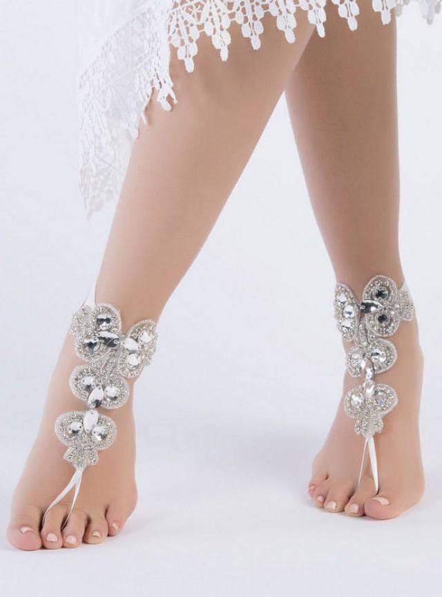 wedding photo - Rhinestone anklet, Beach wedding barefoot sandals, Steampunk, Beach Pool, Sexy, Yoga, Anklet , Bellydance - $52.90 USD