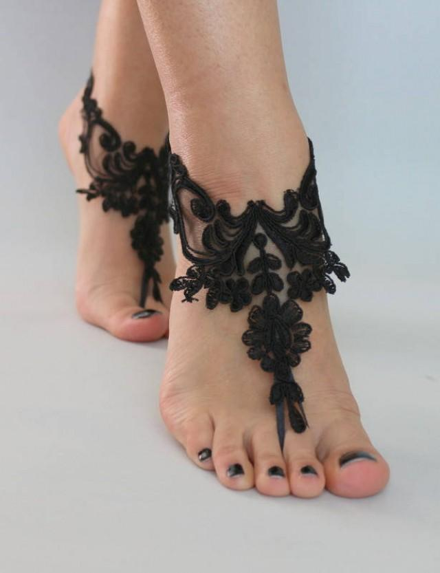 wedding photo - Black Lace Barefoot Sandals, Nude shoes, Foot jewelry, Bridal shoes, Sexy, Yoga, Anklet , Bellydance, Steampunk, Beach Pool - $24.90 USD