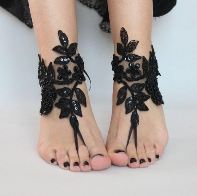 wedding photo - Black Lace sandals for wedding, Foot Jewelry bridal sandals, wedding sandal, Embroidered anklet, sandles for wedding, Beach sandles, Gothic - $29.90 USD