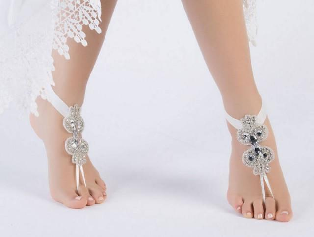 wedding photo - Boho chic Beach Sandals Footless Sandles Rhinestone Bridal Anklet, Flexible Ankle Barefoot Sandals, Beach Wedding Barefoot Sandals, - $42.90 USD