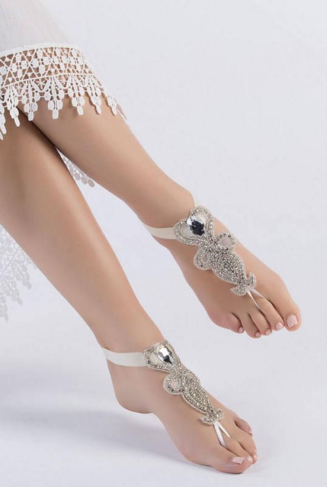 wedding photo - Rhinestone barefoot, Beach wedding barefoot sandals, FREE SHIP Barefoot Sandals, Sexy, Yoga, Anklet, Bellydance, Footless Sandles - $42.90 USD