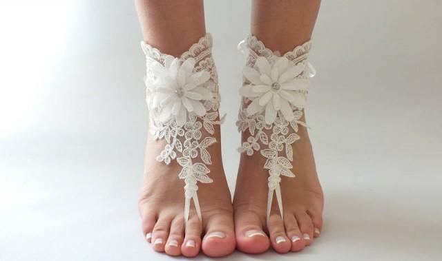 wedding photo - Free Ship ivory foot jewelry, lace sandals, beach wedding barefoot sandals, wedding bangles, anklets, bridal, wedding - $29.90 USD