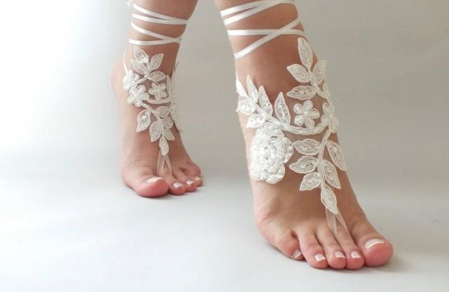 wedding photo - Ivory Beach wedding barefoot sandals, bangle, wedding anklet, FREE SHIP, Bridal Lace Sandals wedding gift bridesmaid sandals Bridal anklet - $25.90 USD