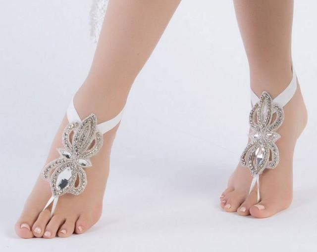 wedding photo - SANDALS Rhinestone Bridal Anklets Flexible Ankle Barefoot Sandals, FREE SHIPPING Beach Wedding Barefoot Sandals, Beach Shoes Beach Sandles - $52.90 USD