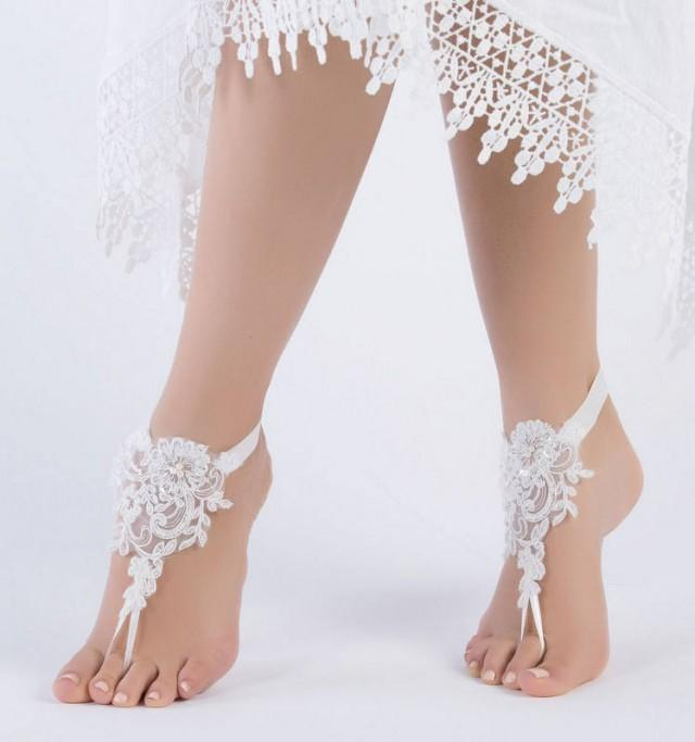 wedding photo - ivory lace barefoot sandals, FREE SHIP, beach wedding barefoot sandals, belly dance, lace shoes, bridesmaid gift, beach shoes - $26.90 USD