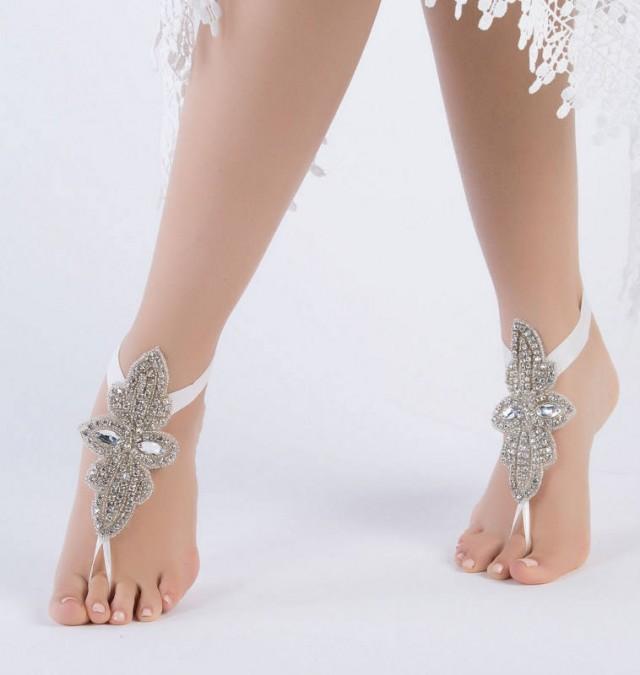 wedding photo - Rhinestone Bridal Anklet, Flexible Ankle Barefoot Sandals, FREE SHIPPING Beach Wedding Barefoot Sandals, Beach Shoes Beach Sandals - $45.90 USD
